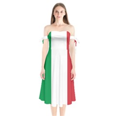 National Flag Of Italy  Shoulder Tie Bardot Midi Dress by abbeyz71