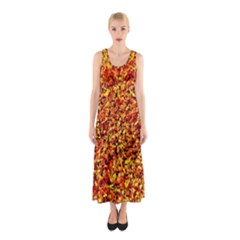 Orange Yellow  Saw Chips Sleeveless Maxi Dress