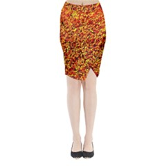 Orange Yellow  Saw Chips Midi Wrap Pencil Skirt by Costasonlineshop