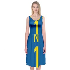 South Africa National Route N1 Marker Midi Sleeveless Dress by abbeyz71