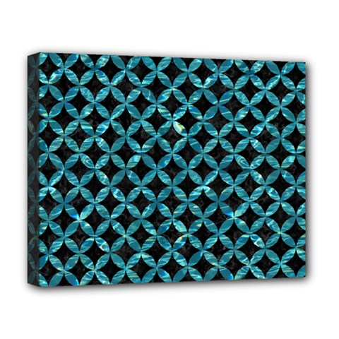 Circles3 Black Marble & Blue Green Water Deluxe Canvas 20  X 16  (stretched) by trendistuff