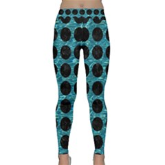 Circles1 Black Marble & Blue Green Water (r) Classic Yoga Leggings by trendistuff