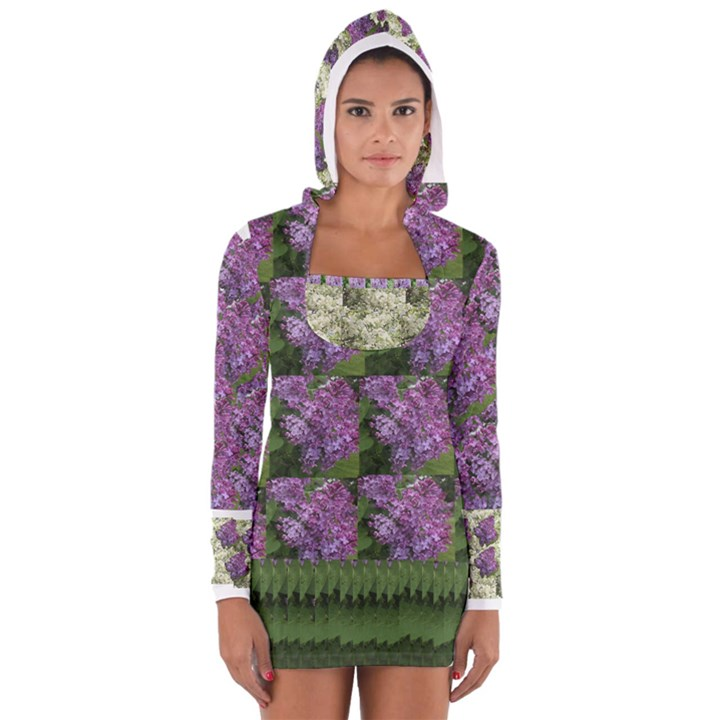 Purple and white flowers Women s Long Sleeve Hooded T-shirt