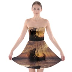 Steampunk Fractalscape, A Ship For All Destinations Strapless Bra Top Dress