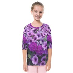 Wonderful Lilac Flower Mix Kids  Quarter Sleeve Raglan Tee