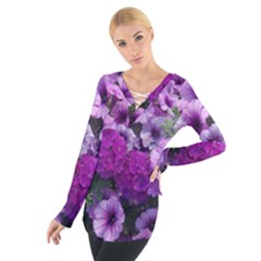 Wonderful Lilac Flower Mix Women s Tie Up Tee