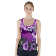 Wonderful Lilac Flower Mix Racer Back Sports Top