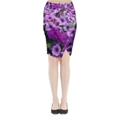 Wonderful Lilac Flower Mix Midi Wrap Pencil Skirt