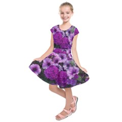 Wonderful Lilac Flower Mix Kids  Short Sleeve Dress
