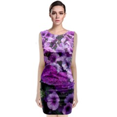 Wonderful Lilac Flower Mix Sleeveless Velvet Midi Dress