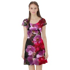 Wonderful Pink Flower Mix Short Sleeve Skater Dress