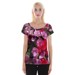 Wonderful Pink Flower Mix Cap Sleeve Tops by MoreColorsinLife