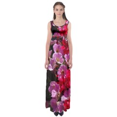 Wonderful Pink Flower Mix Empire Waist Maxi Dress