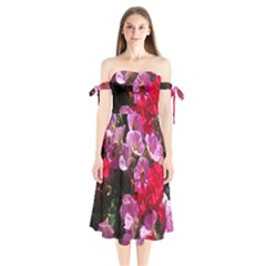 Wonderful Pink Flower Mix Shoulder Tie Bardot Midi Dress