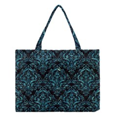 Damask1 Black Marble & Blue Green Water Medium Tote Bag by trendistuff