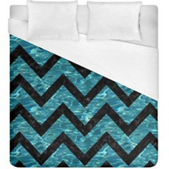 Chevron9 Black Marble & Blue Green Water (r) Duvet Cover (king Size) by trendistuff