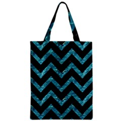 Chevron9 Black Marble & Blue Green Water Zipper Classic Tote Bag by trendistuff