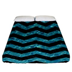 Chevron3 Black Marble & Blue Green Water Fitted Sheet (california King Size) by trendistuff
