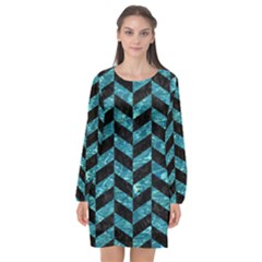 Chevron1 Black Marble & Blue Green Water Long Sleeve Chiffon Shift Dress