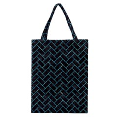 Brick2 Black Marble & Blue Green Water Classic Tote Bag by trendistuff