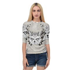 Wonderful Sugar Cat Skull Quarter Sleeve Tee by FantasyWorld7
