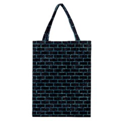 Brick1 Black Marble & Blue Green Water Classic Tote Bag by trendistuff