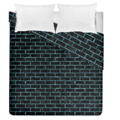 Brick1 Black Marble & Blue Green Water Duvet Cover Double Side (queen Size) by trendistuff