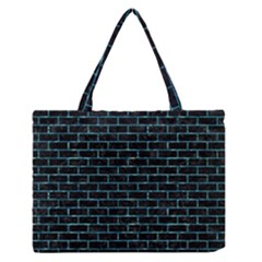 Brick1 Black Marble & Blue Green Water Medium Zipper Tote Bag by trendistuff