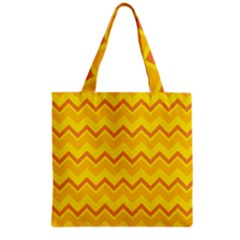 Zigzag (orange And Yellow) Grocery Tote Bag by berwies