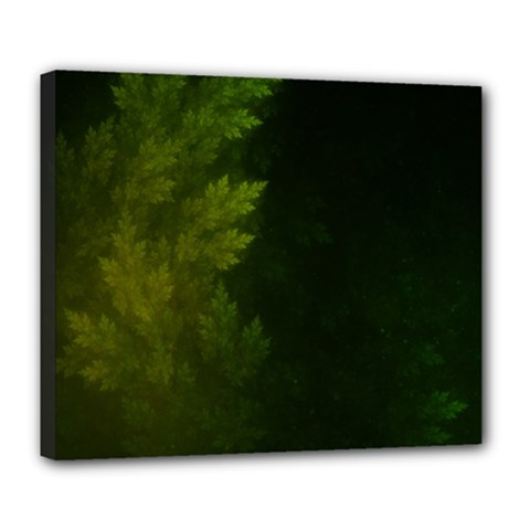 Beautiful Fractal Pines In The Misty Spring Night Deluxe Canvas 24  X 20   by jayaprime