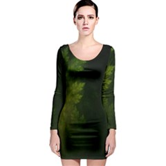 Beautiful Fractal Pines In The Misty Spring Night Long Sleeve Bodycon Dress