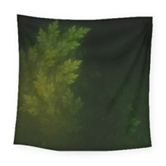Beautiful Fractal Pines In The Misty Spring Night Square Tapestry (large) by jayaprime