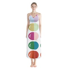 Brights Pastels Bubble Balloon Color Rainbow Button Up Chiffon Maxi Dress