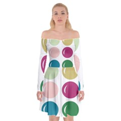 Brights Pastels Bubble Balloon Color Rainbow Off Shoulder Skater Dress