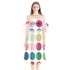 Brights Pastels Bubble Balloon Color Rainbow Shoulder Tie Bardot Midi Dress by Mariart