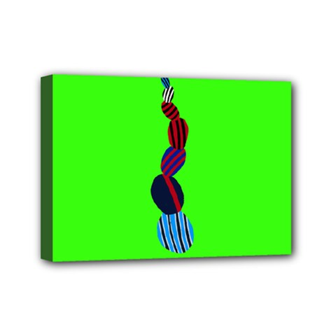 Egg Line Rainbow Green Mini Canvas 7  X 5  by Mariart