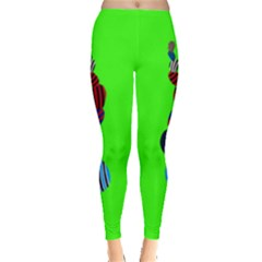 Egg Line Rainbow Green Leggings  by Mariart