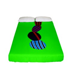 Egg Line Rainbow Green Fitted Sheet (full/ Double Size) by Mariart