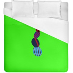 Egg Line Rainbow Green Duvet Cover (king Size) by Mariart
