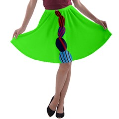 Egg Line Rainbow Green A-line Skater Skirt