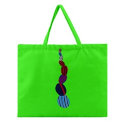 Egg Line Rainbow Green Zipper Large Tote Bag by Mariart