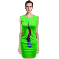 Egg Line Rainbow Green Classic Sleeveless Midi Dress