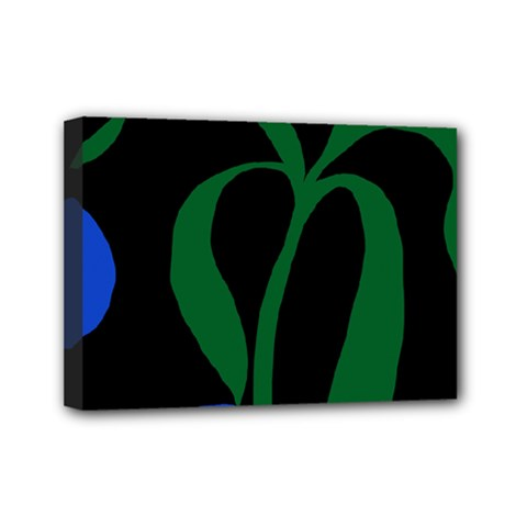 Flower Green Blue Polka Dots Mini Canvas 7  X 5  by Mariart