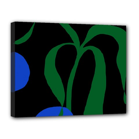 Flower Green Blue Polka Dots Canvas 14  X 11  by Mariart