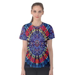 Circle Purple Green Tie Dye Kaleidoscope Opaque Color Women s Cotton Tee by Mariart