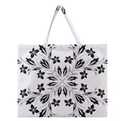 Floral Element Black White Zipper Large Tote Bag by Mariart