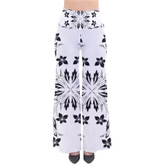Floral Element Black White Pants by Mariart