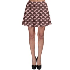 Chocolate Pink Hearts Gift Wrap Skater Skirt