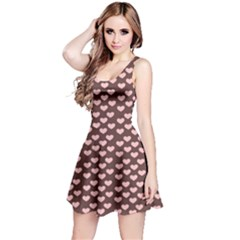 Chocolate Pink Hearts Gift Wrap Reversible Sleeveless Dress by Mariart