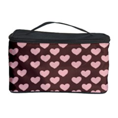 Chocolate Pink Hearts Gift Wrap Cosmetic Storage Case by Mariart